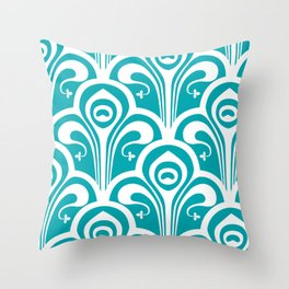 Turquoise Jugend Stil Throw Pillow