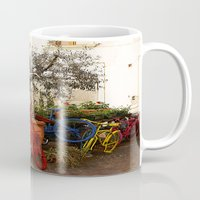 bicycles Mugs featuring Colorful Bicycles by Art-Motiva