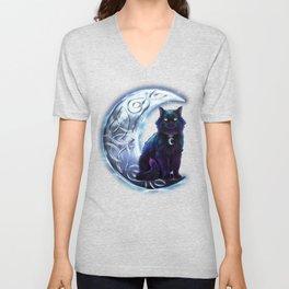 Black Cat Celtic Crescent Moon Unisex V-Neck