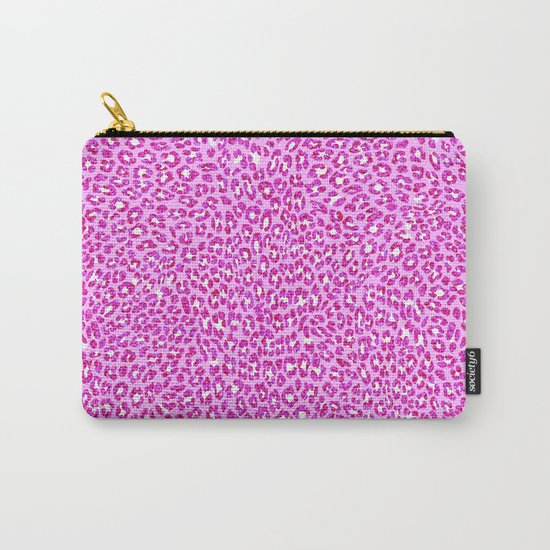 Light Pink Glitter Cheetah Print Carry-All Pouch