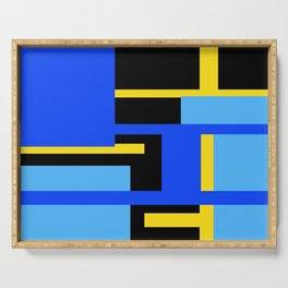 Rectangles - Blues, Yellow and Black Serving Tray