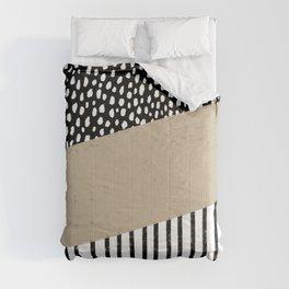 Polka Dots and Stripes Pattern (black/white/tan) Comforters