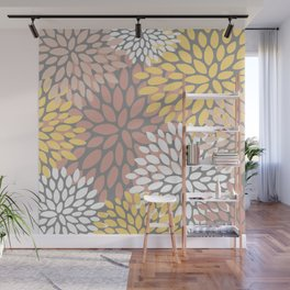 Floral Pattern, Yellow, Pink and Gray Wall Mural