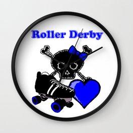 Roller Derby Heart (Blue) Wall Clock