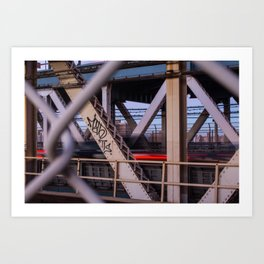 Dusk on Manhattan Bridge Art Print