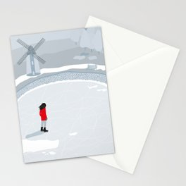Ice skating in Holland Stationery Cards