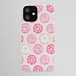 Pink Donuts Pattern on a pink background iPhone Case