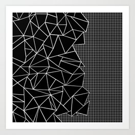 Abstract Grid Outline White on Black on Side Art Print