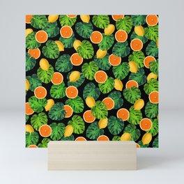 Oranges Lemons Monstera Leaf Black Mini Art Print