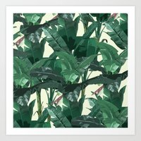 banana leaf Art Prints featuring Banana Leaf Pattern 2 by Tamsin Lucie
