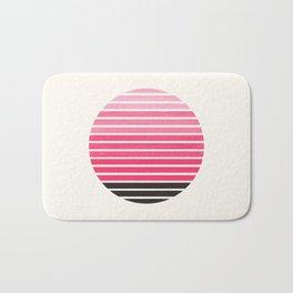 Pink Mid Century Modern Minimalist Scandinavian Colorful Stripes Round Circle Frame Bath Mat