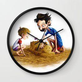 Father and Son at the Beach Wall Clock