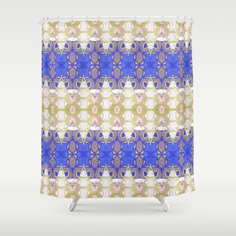 Boujee Boho Indigo Gold Gilded Sensual Goth Lace Geometric Shower Curtain