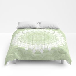 Boho Pastel Green Mandala Comforters