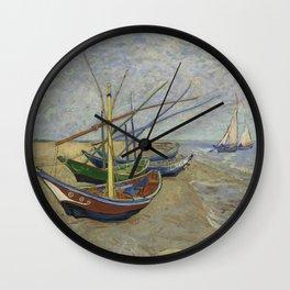 """Vincent Van Gogh """"Fishing boats on the Beach at Les Saintes-Maries-de-la-Mer"""" Wall Clock"""