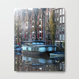 Misty Morning Amsterdam Canal Metal Print