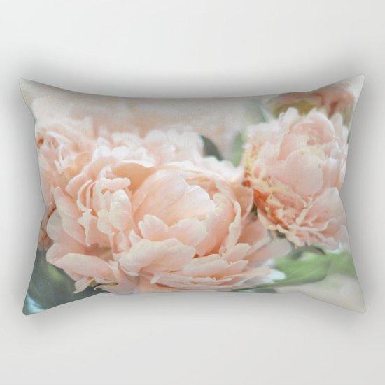 Peach Peonies Rectangular Pillow