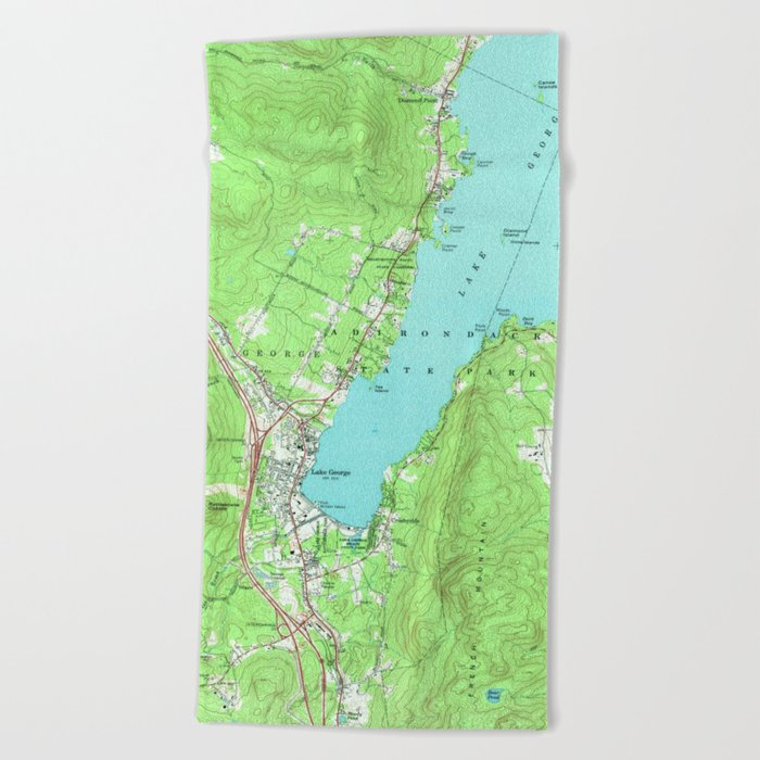 Vintage Map of Lake George New York (1966) Beach Towel by ...
