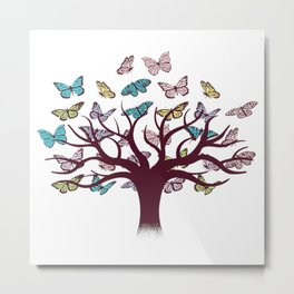 Butterflies tree Metal Print