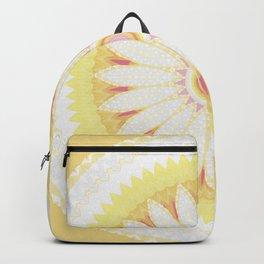 Sunshine Yellow Flower Mandala Abstract Backpack