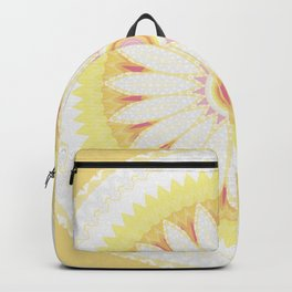 Sunshine Yellow Flower Mandala Abstract Backpack