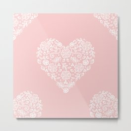 Millennial Pink Blush Rose Quartz Hearts Lace Flowers Pattern Metal Print