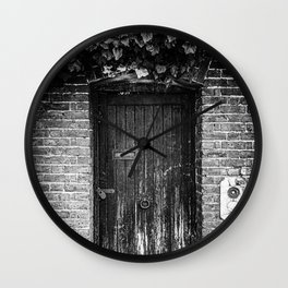 A door in London   Black & White Photography   Travel Photography   Photo Print   Art Print Wall Clock