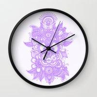 henna Wall Clocks featuring Purple Henna by haleyivers