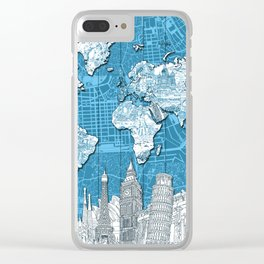 world map city skyline 10 Clear iPhone Case