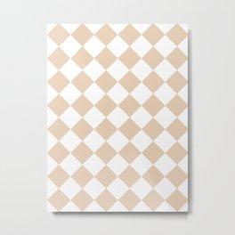 Large Diamonds - White and Pastel Brown Metal Print