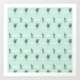 Modern teal green white triangles cactus floral pattern Art Print