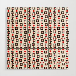 Circles Squares Black Red White Wood Wall Art