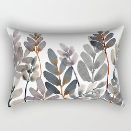 Layered Neutral Watercolor Leaves Rectangular Pillow