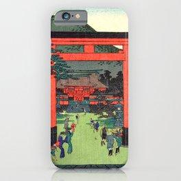 Fushimi Inari Shrine by Hasegawa Sadanobu - Japanese Vintage Ukiyo-e Woodblock Painting iPhone Case