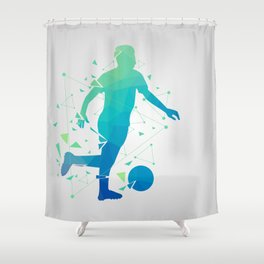 Abstract Soccer Player Shower Curtain