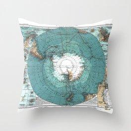 Antarctica Vintage map Throw Pillow
