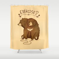 fitness Shower Curtains featuring Fitness Bear by sociopteryx
