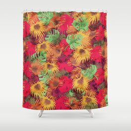 Seamless Pattern of Tropical Leaves Shower Curtain
