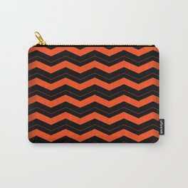Orange and Black Chevron Carry-All Pouch