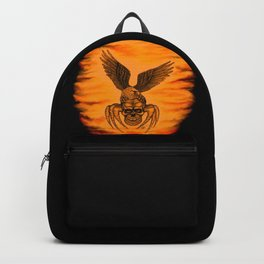 Spider Skull and Eagle in Tattoo Style , Black Red Yellow design Backpack