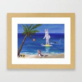 Easter Bunny at the Beach Framed Art Print