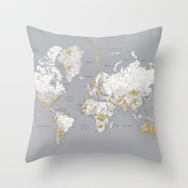 Detailed marble world map in gold and grey Throw Pillow