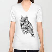 bioworkz V-neck T-shirts featuring Great Horned Skull by BIOWORKZ