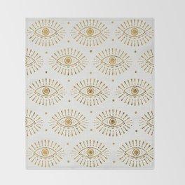 Evil Eyes Gold Throw Blanket