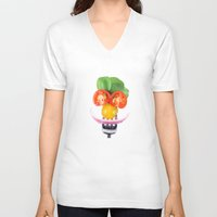 vegetables V-neck T-shirts featuring Happy Vegetables by Chantal Seigneurgens