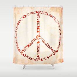 Watercolor music peace Shower Curtain