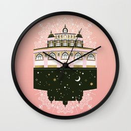 Budapest Bath House – Peach & Gold Palette Wall Clock