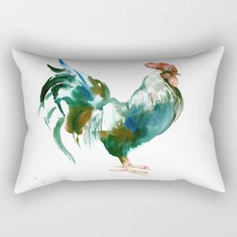 Rooster, Turquoise Blue Brown Kitchen art Rectangular Pillow