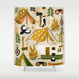 Camping Kit – Olive Palette Shower Curtain