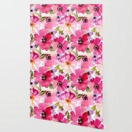 Watercolor Flowers Pink Fuchsia Wallpaper